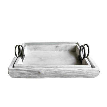"""Picture of Wood Trays 19"""" x 13"""" x 5"""" - Set of 2 - White"""