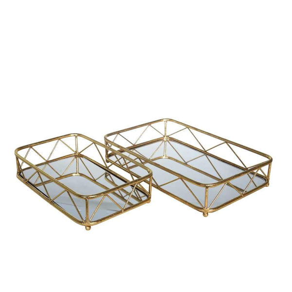 Picture of Metal and Glass Trays - Set of 2 - Gold Leaf