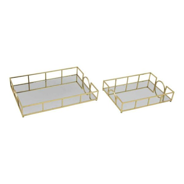 """Picture of Metal 20"""" and 16"""" Trays - Set of 2 - Gold Leaf"""