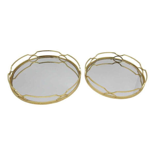 """Picture of Metal 18"""" and 16"""" Round Trays - Set of 2 - Gold Leaf"""