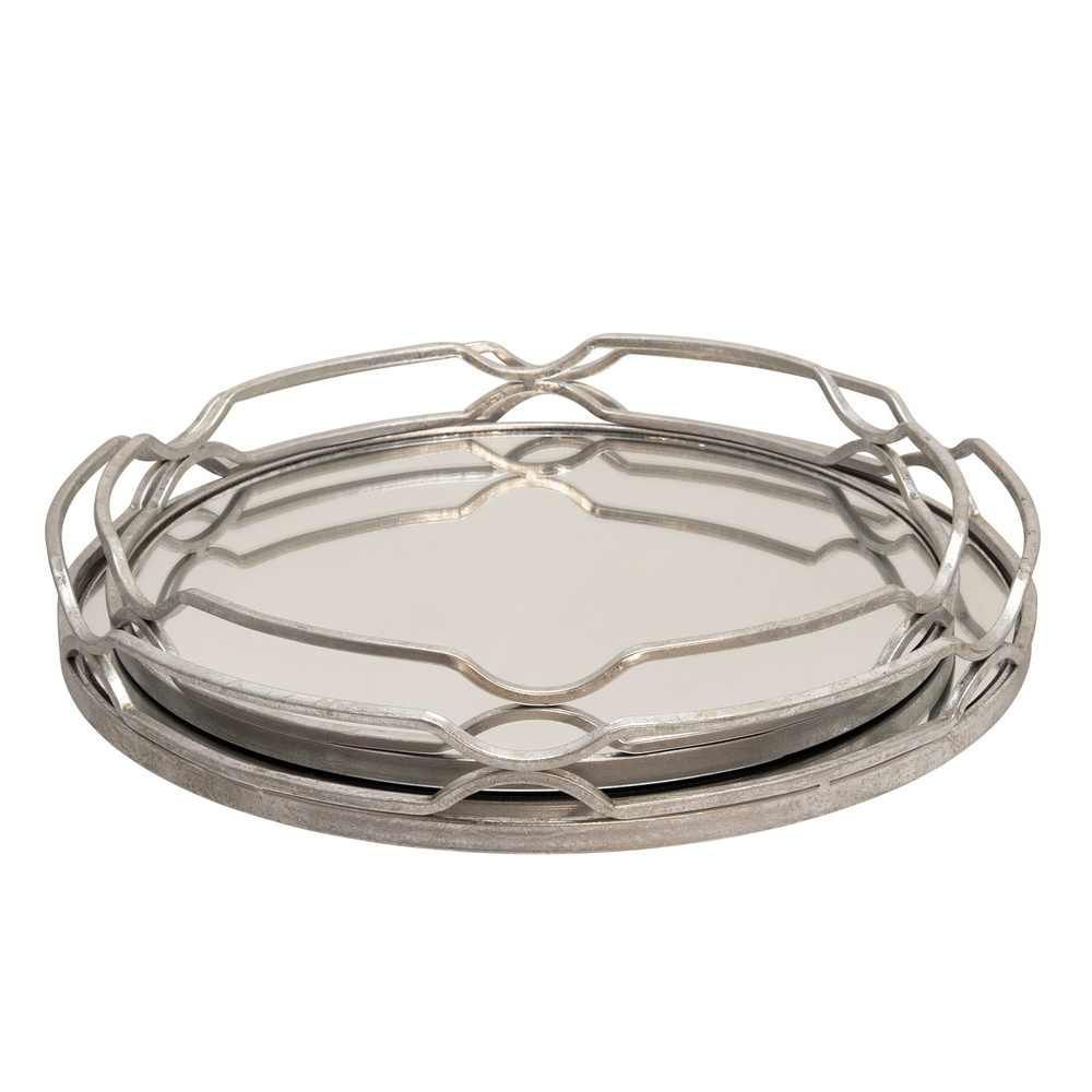 """Picture of Metal 18"""" and 16"""" Round Trays - Set of 2 - Silver Leaf"""
