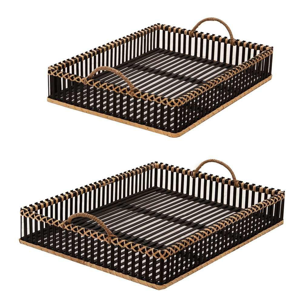 """Picture of Bamboo 20"""" and 22"""" Trays - Set of 2 - Black"""