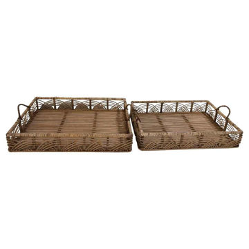 """Picture of Bamboo 20"""" and 22"""" Trays - Set of 2 - Natural"""