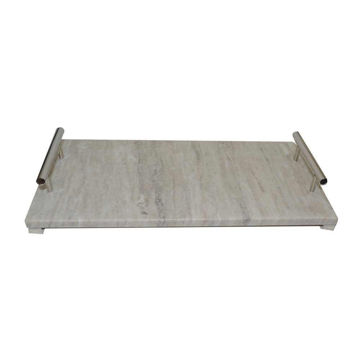 """Picture of Marble 18"""" x 9"""" Tray with Handles - Gray"""