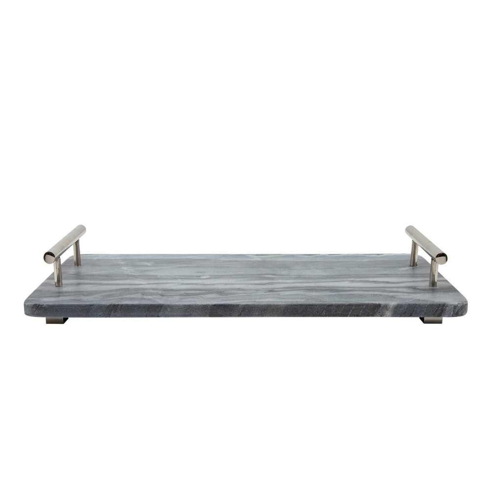 """Picture of Marble 18"""" x 9"""" Tray with Handles - Black"""
