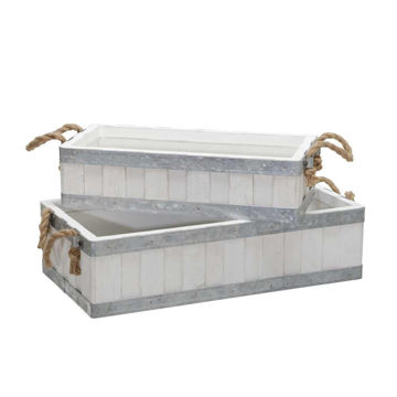"""Picture of Wooden 16"""" and 19"""" Trays with Rope Handles - Set of 2 - White"""