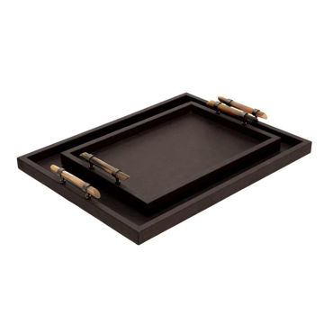"""Picture of Wood 14"""" and 18"""" Faux Leather Trays - Set of 2 - Brown"""