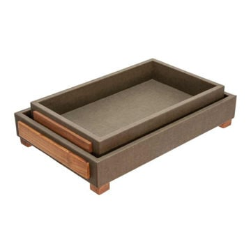 """Picture of Wood 16"""" and 18"""" Trays with Legs - Set of 2 - Green"""
