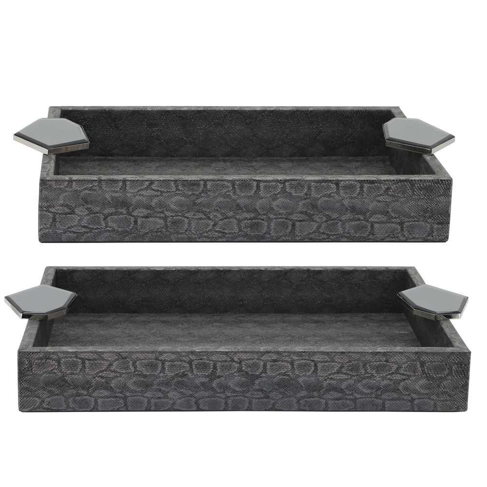 """Picture of Wood 14"""" Faux Leather Trays - Set of 2 - Gray"""