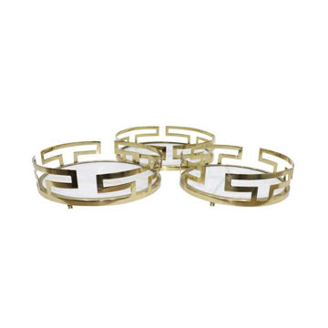 Picture of Metal and Marble Trays - Set of 3 - Gold