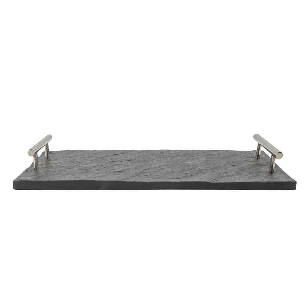 """Picture of Marble 18"""" x 9"""" Slate Tray with Silver Handles - Black"""