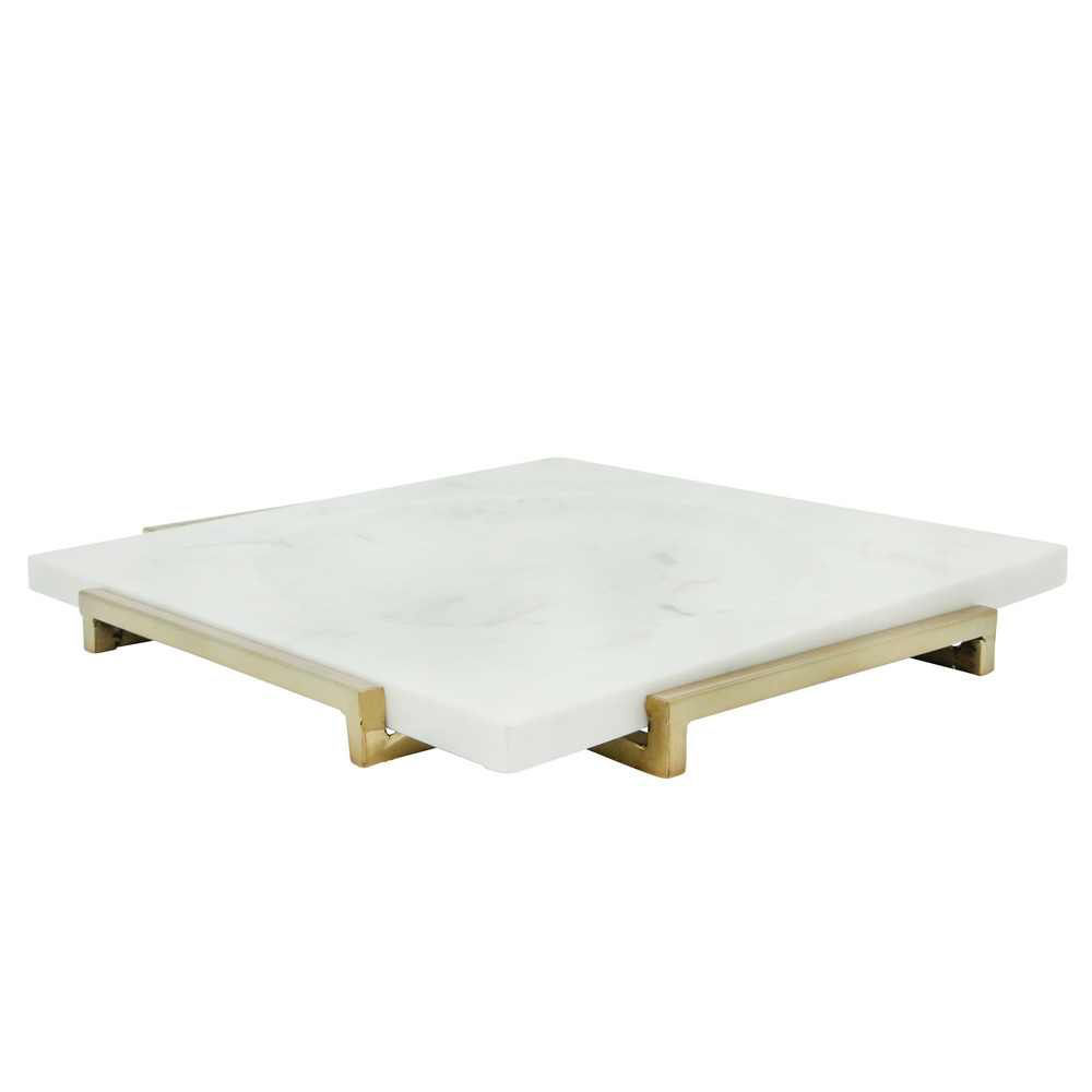 """Picture of Marble 15"""" x 15"""" Tray with Metal Base - White"""