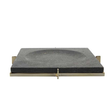 """Picture of Marble 12"""" x 12"""" Tray with Metal Base - Black"""
