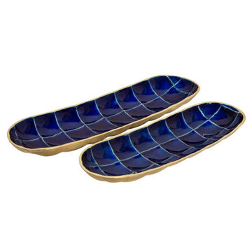 Picture of Decorative Tortoise Shell Metal Plates - Set of 2 - Blue
