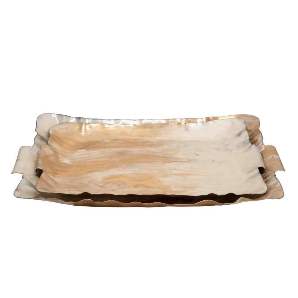 Picture of Metal Trays - Set of 2 - Cream