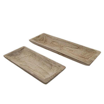 """Picture of Wood 15"""" Rectangular Tray - Set of 2 - Natural"""