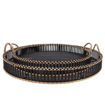 """Picture of Bamboo 24"""" and 30"""" Round Trays - Set of 2 - Black"""