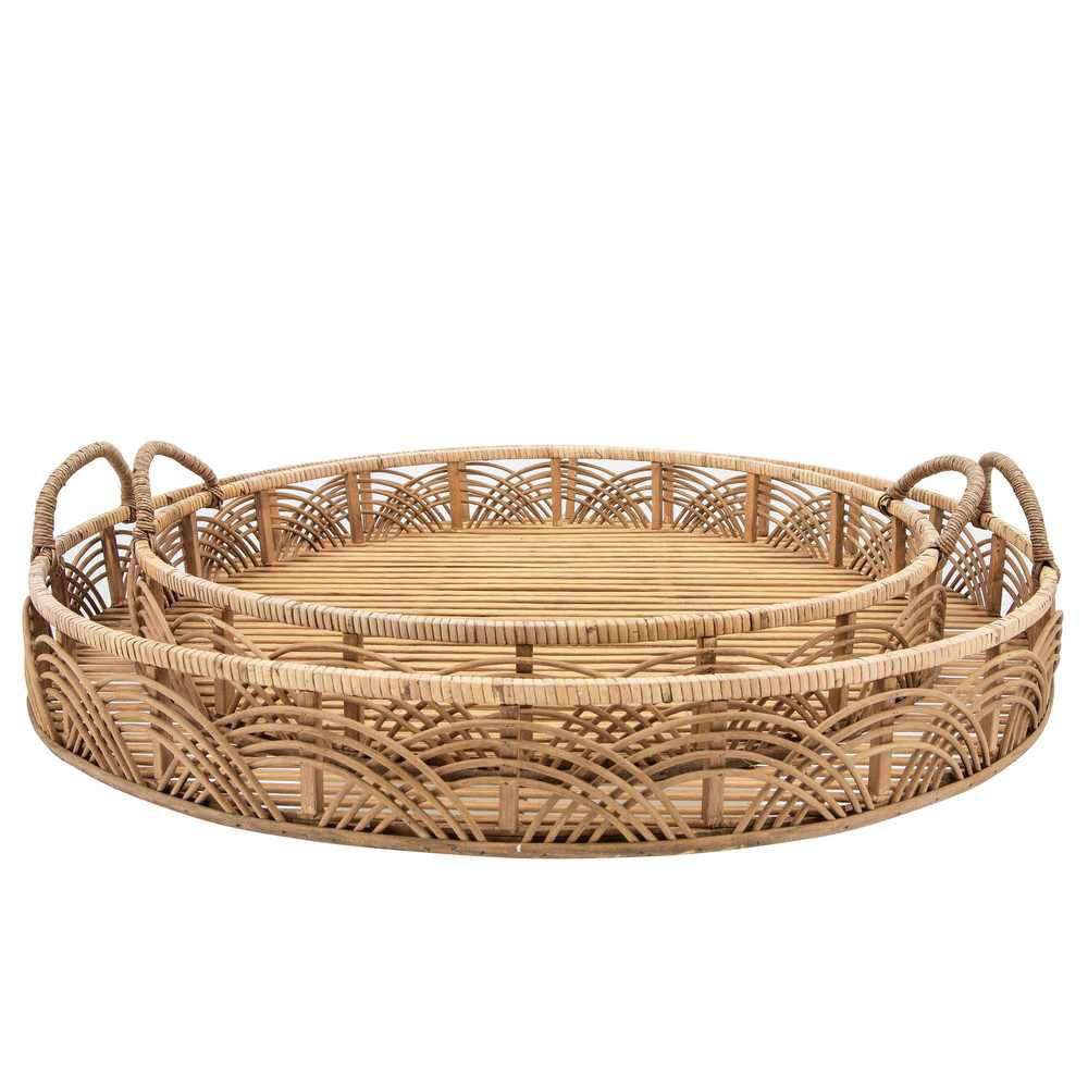"""Picture of Bamboo 24"""" and 30"""" Round Trays - Set of 2 - Natural"""