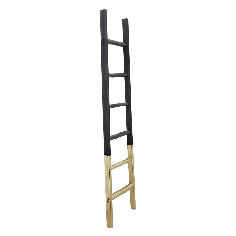 """Picture of Wooden 76"""" Decorative Ladder 2-tone - Black"""