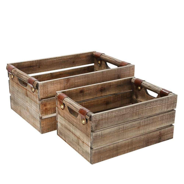 Picture of Wood Boxes - Set of 2 - Brown