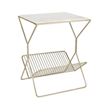 """Picture of Iron 22"""" Rectangular Marble Table with Magazine Rack"""