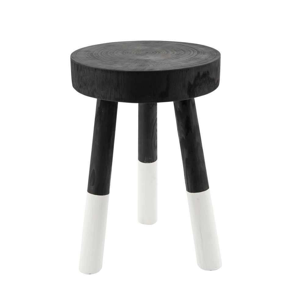 """Picture of Wooden 18"""" 2-tone Stool - Black"""