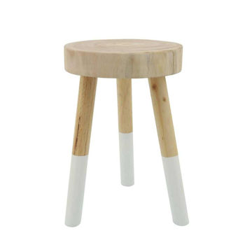"""Picture of Wooden 18"""" Stool 2-tone - Brown"""