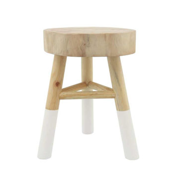 """Picture of Wooden 16"""" Accent Stool with Dipped Legs - White"""