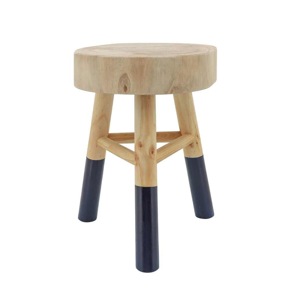 """Picture of Wooden 16"""" Accent Stool with Dipped Legs - Navy"""