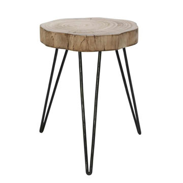 """Picture of Wood and Metal 16"""" Stool - Brown and Black"""