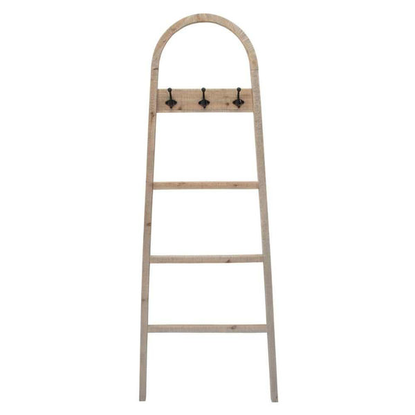"""Picture of Wooden 68"""" Decorative Ladder with Hooks - Brown"""