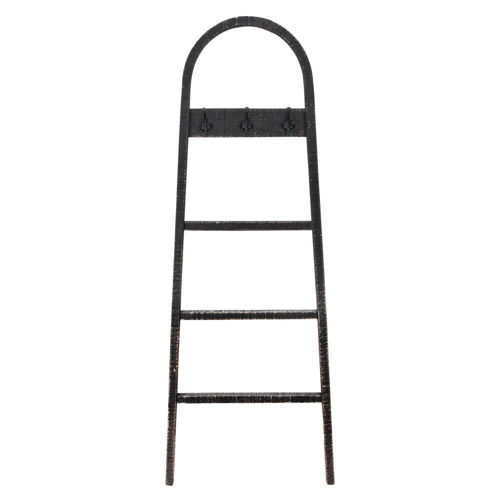 """Picture of Wooden 68"""" Decorative Ladder with Hooks - Black"""
