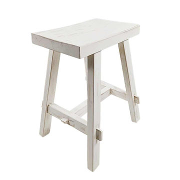 """Picture of Wood 20"""" Rectangular Stool - White Wash"""