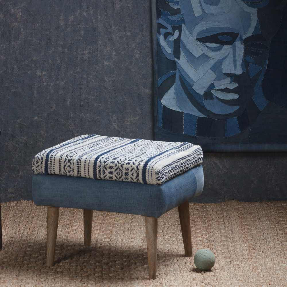"""Picture of Wood 16"""" Ottoman - Blue"""