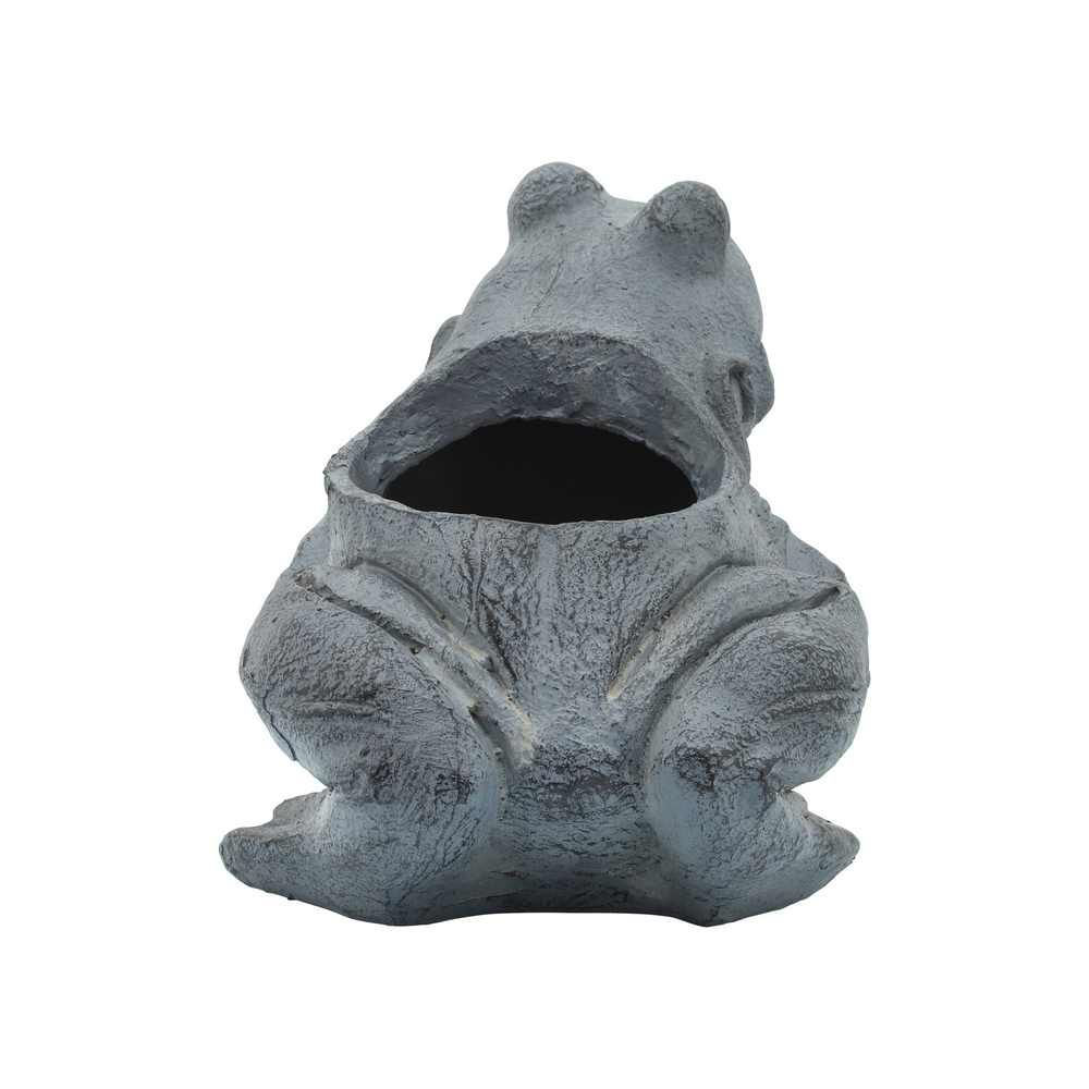 """Picture of Resin 8"""" Frog Planter - Black"""