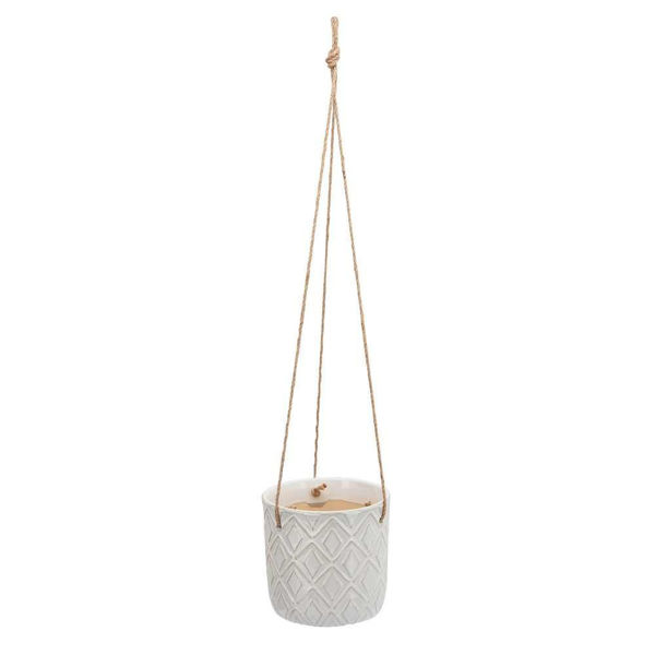 """Picture of Hanging 7"""" Diamond Planter - White"""