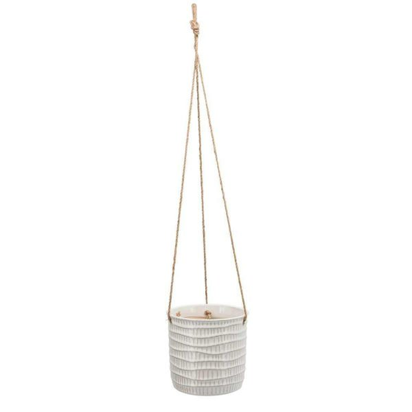 """Picture of Hanging 7"""" Tribal Planter - White"""