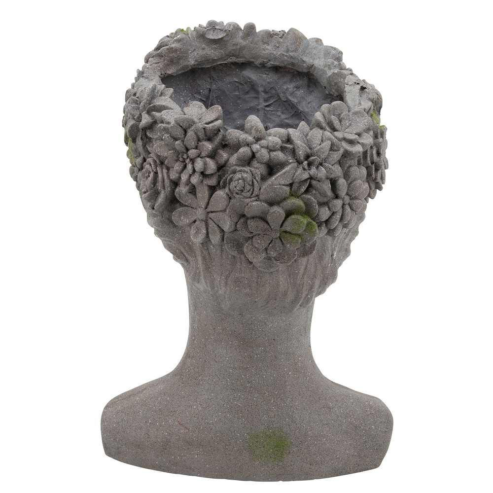 """Picture of Resin 19"""" Lady with Daisies Planter - Gray"""