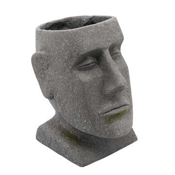 "Picture of Resin 11"" Moai Head Planter - Gray"