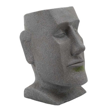 "Picture of Resin 13"" Moai Head Planter - Gray"
