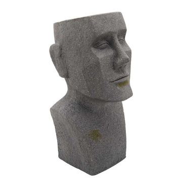 """Picture of Resin 20"""" Moai Bust Planter - Gray"""