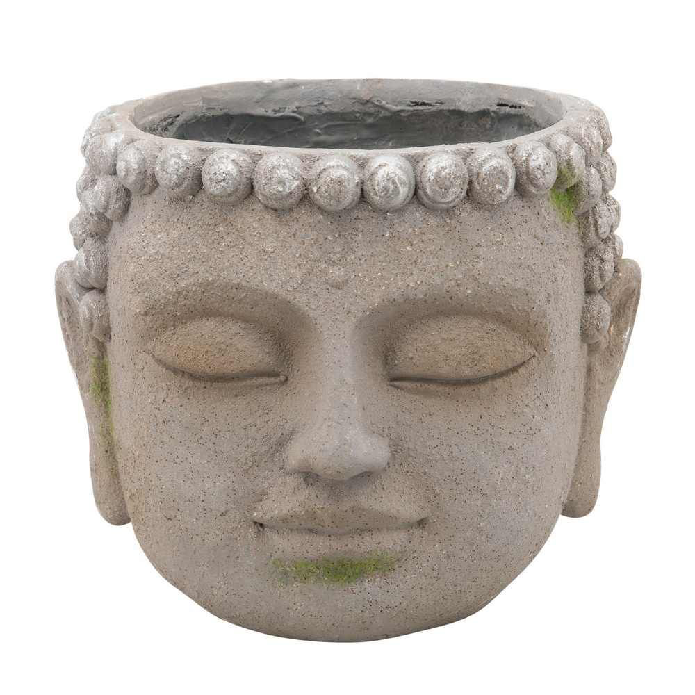 """Picture of Resin 11"""" Buddha Head Planter - Gray"""