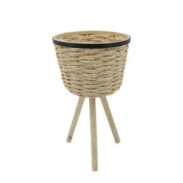 Picture of Wicker Footed Planters - Set of 2 - White