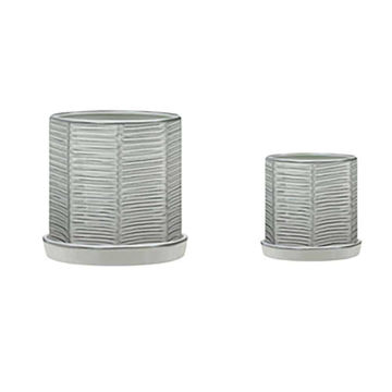 """Picture of Ridged 10"""" and 12"""" Planters with Saucers - Set of 2"""