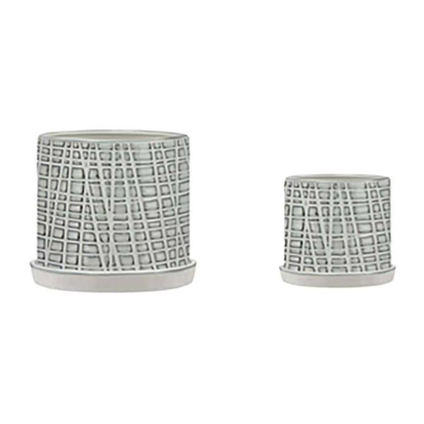 """Picture of Meshed 10"""" and 12"""" Planter with Saucers - Set of 2"""