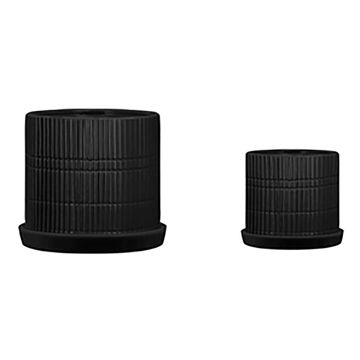 """Picture of Textured 10"""" and 12"""" Planter with Saucers - Set of 2 - Black"""