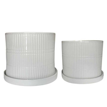 """Picture of Textured 10"""" and 12"""" Planter with Saucers - Set of 2 - White"""