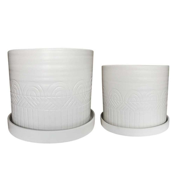 """Picture of Aztec 10"""" and 12"""" Planter with Saucers - Set of 2"""