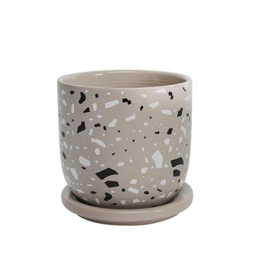 """Picture of Terracotta 5"""" Planter with Saucer - Gray"""