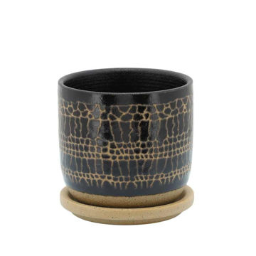 """Picture of Glazed 5"""" Planter with Saucers - Black"""